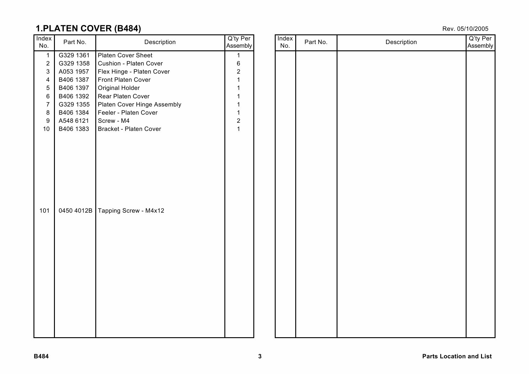 ricoh options b484 platen cover type 120 parts catalog pdf download Retrevo Manuals Program Manual